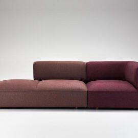 Bordeauxrotes modulares Sofa