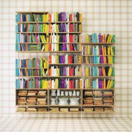Bücherregal mit Glasvitrinen